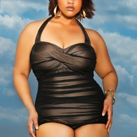 """Maldives"" Illusion Ruched Plus Size Swimsuit - Swimwear - Monif C"