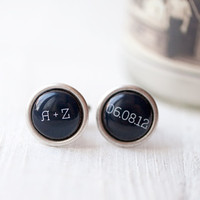 Personalized Wedding cufflinks - Initials Date Cuff links - Groom, Father of the Bride (C024)