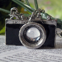 Vintage silver BLACK camera necklace pendant by BeautyandLuck