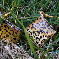 Leopard print dangle earrings by MeredithsLittleShop on Etsy