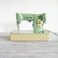 Vintage Green Singer Sewing Machine Model 185J