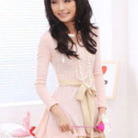 Sweet Pink Cashmere Round Collar Women&#x27;s Long Sleeves Dress - Milanoo.com