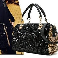 Bestgoods  Nice Leopard Sparking Handbag