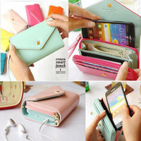 Fashion  Mobile phone bag purse change purse Wallet With Card Pocket