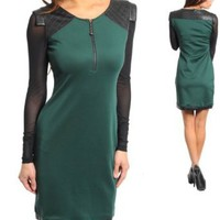 Amazon.com: G2 Fashion Square Long Sleeves Leatherette Shoulder Sexy Dress: Clothing