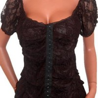 Amazon.com: FUNFASH BLACK LACE EYELETS CORSET SeXy TOP SHIRT CLOTHING Plus Size Womens New Made in USA Free Ship: Clothing
