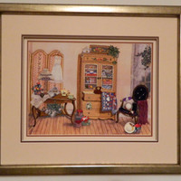 Hand Embroidered Art Still Life Framed Art by Loutul on Etsy