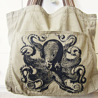 $35.00 Canvas tote large shoulder bag Vintage octopus by katyandzucchini