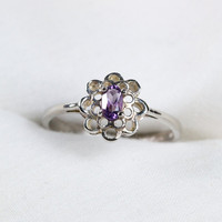 Filigree Sterling Silver Ring With Amethyst by TwiceBakedVintage