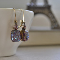 Lavender Druzy Estate Earrings, Amethyst Rhinestone, Iridescent Glass, Antiqued Brass Lever Back Earrings