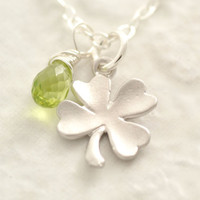 St. Patricks Day Necklace - shamrock necklace, four clover necklace, silver shamrock, green clover, lucky charm necklace