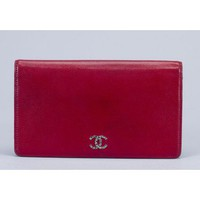 Chanel Red Caviar Long BiFold Clutch Wallet