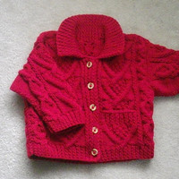 Garrett cable aran jacket for toddler, PDF knitting pattern
