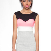 Sweetly Colored Dress in Pink and Grey :: tobi