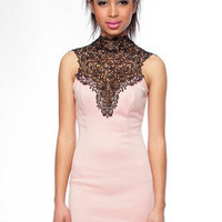 Tara Lace Dress in Peach :: tobi