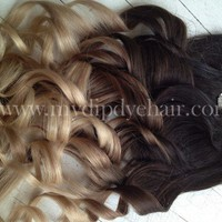 Ombre Hair Extensions//DipDye//Dark Brown Hair and Wheat Blonde Fade//
