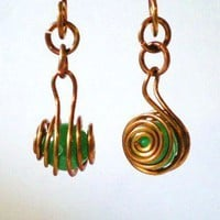 Green and Copper Caged Earrings