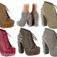 NEW Fashion Chunky Heel Studded Spike Platform Women's Bootie Shoes 5 Colors