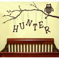 Alphabet Garden Designs Personalized Owl on Branch Boy Wall Decal - child131