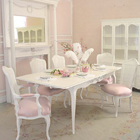Stunning White Chic Rose Dining Table with Two Leaves - The Bella Cottage