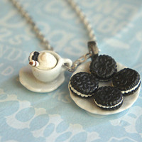 oreo cookies and coffee necklace
