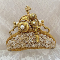 Royal Wedding Crown, Gold Tiara, Bridal Crown, Gold Renaissance Angels, Victorian Steampunk wedding Tiara, OOAK, Layaway Plans