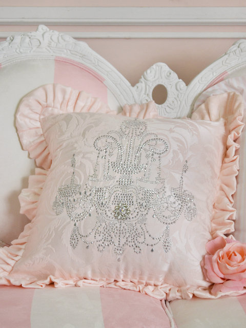 Shabby French Chic Pink Satin Jacquard Ruffle Pillow with Silver Chandelier - The Bella Cottage