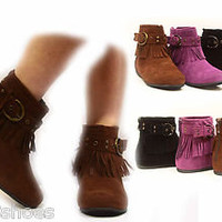 Women&#x27;s Zipper Flat Heel Fringe Moccasin Round Toe Ankle Bootie Shoes NEW