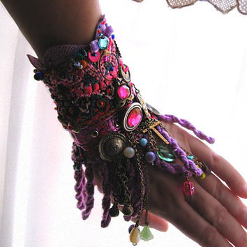 $165.00 Reflectance Gypsy JanglePurple Beaded Bracelet by AllThingsPretty