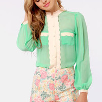 Call Me Darling Mint Green and Cream Button-Up Top