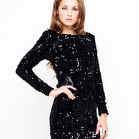 Motel Gabby Anne Wild Sequin and Velvet Dress in Black