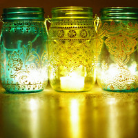 Mason Jar Lantern Morrocan Style Silver Detailing on by LITdecor