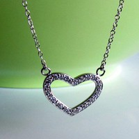 "Sterling Silver Open Heart CZ Necklace, 16""+2"""