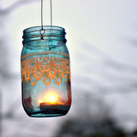 Hand Painted Mason Jar Moroccan Lantern Ocean Blue by LITdecor