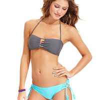 Raisins Swimsuit, Bandeau Bikini Top & Solid Side-Tie Brief Bottom - Womens Swimwear - Macy's