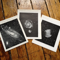 1910 set of 3 galaxy & nebula original vintage celestial astronomy prints - andromeda, vulpecula and the canes vanatici