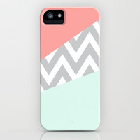 Mint &amp; Coral Chevron Block iPhone Case by daniellebourland