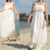 Maxi Dress Wedding Bridesmaid Day Out Lace Dress Romance Formal Long White Sundress