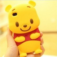 Amazon.com: 3D Cute Winnie Pooh Silicone Back Cover Case Skin Protector Apple iphone4 4S 4G: Cell Phones & Accessories