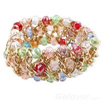 Fashion Multilayer Crystal Beaded Strand Bracelet at online fashion jewelry store Gofavor