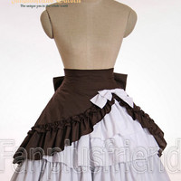 Classical Lolita Bias Skirt&Built-in Frills Cotton Petticoat*3colors Instant Shipping
