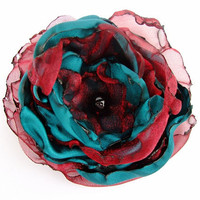 Wedding Hair Flower, Teal Blue satin with Dark Red Organza Flower, Hair Clip, Pin Brooch