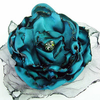Teal Blue Flower Accessory, Hair Clip or Brooch, Wedding, Bridal Sash, Bridal Hair Piece, Maternity Sash