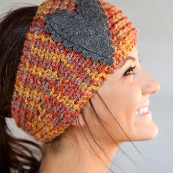 Knitted Headband Rust Brown Gray Medley Headband Knitted Headband With Felt Heart by BglorifiedBoutique