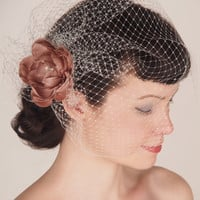 Wedding Veil & Blush Pink Silk Peony Flower Fascinator with Pearls and Crystals - Birdcage, Blusher