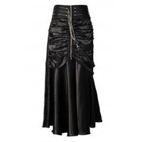 EW-116 - Long Black Gathered Satin Skirt with Zip and Chains-MADE TO ORDER