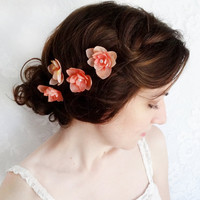 coral pink hair flower pins, bridal hair accessories - LIPSTICK KISSES - set of bobby pins, bridesmaid accessory
