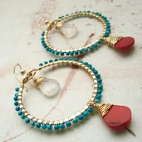Turquoise Red Coral Hoops Wrapped Turquoise by BellaAnelaJewelry