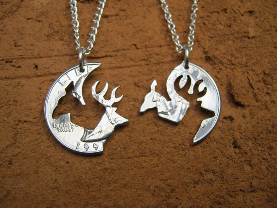 buck and doe quarter necklace browning from ediebaron on