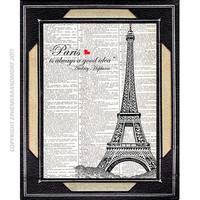 PARIS EIFFEL TOWER France art print Audrey by EphemeraAndMore